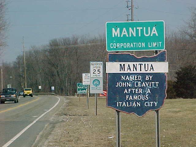 Mantua Corporation Limit Street Sign