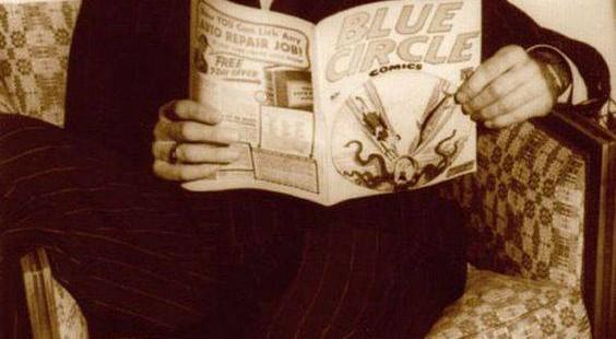 Humphrey Bogart reads Blue Circle Comics
