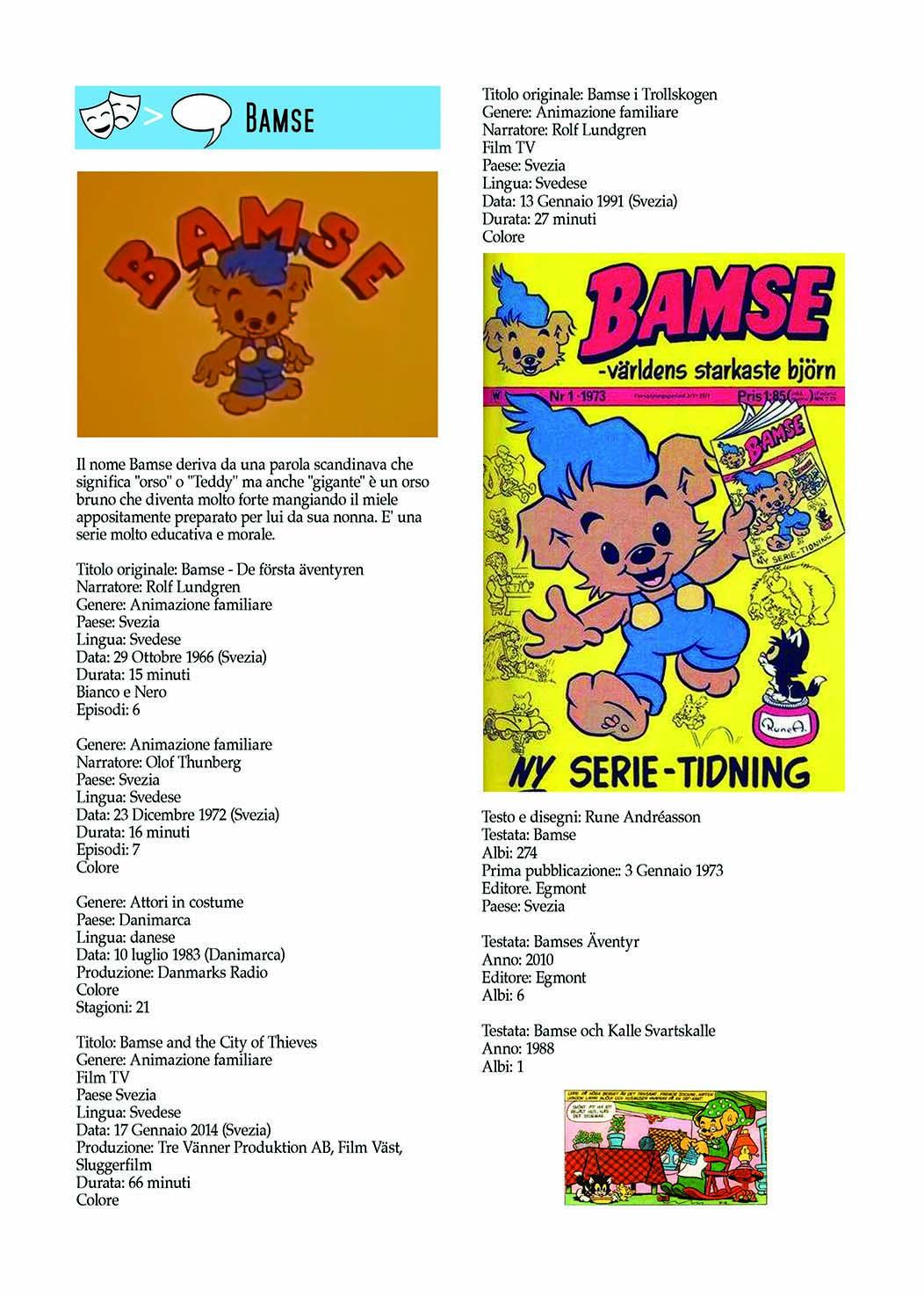 Bamse dal cartone al fumetto Dizionario Movie/comics