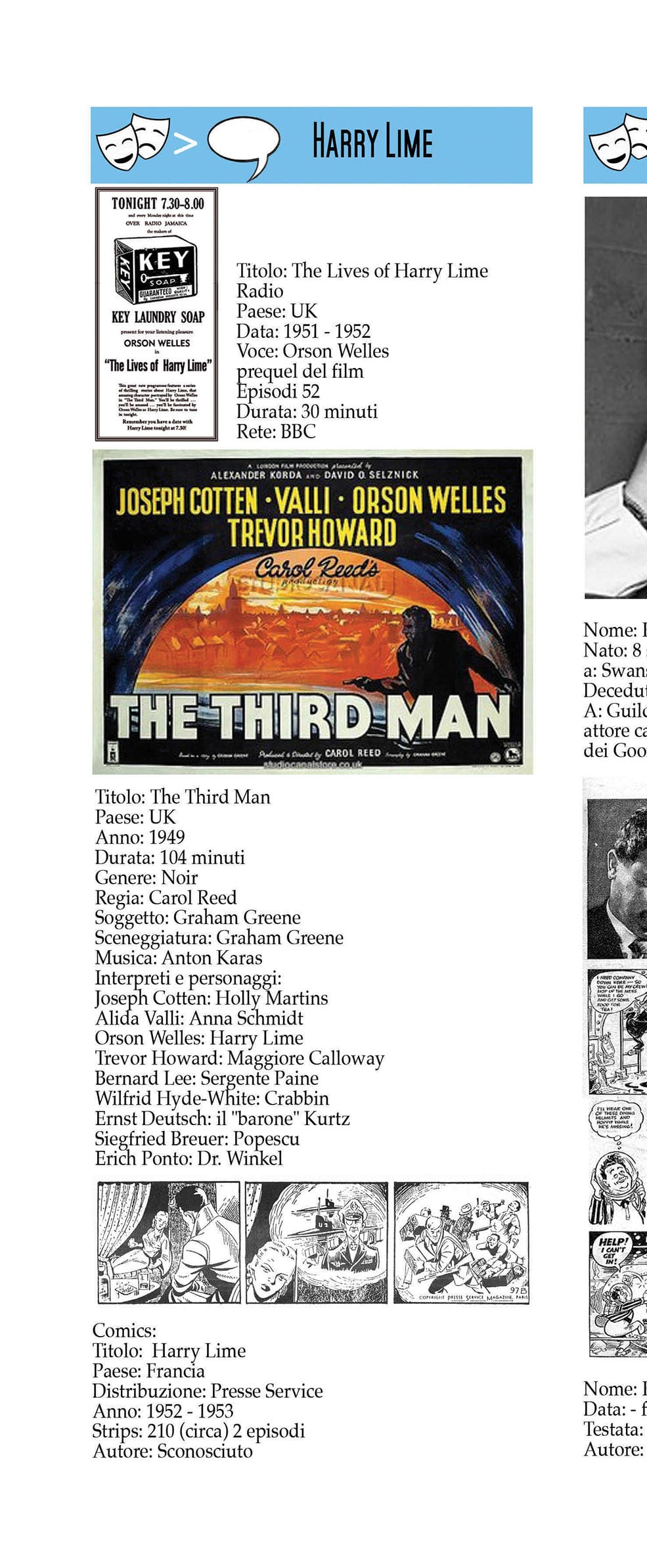 Harry Lime – the Third Man – comic strips