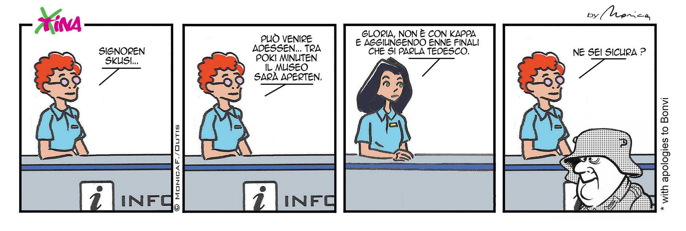 Xtina comic strip speak German ?