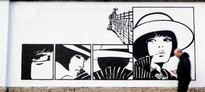 Valentina by Guido Crepax 400 m. of murales in Milan