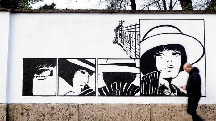 Valentina by Guido Crepax 400 m. of murales in Milan