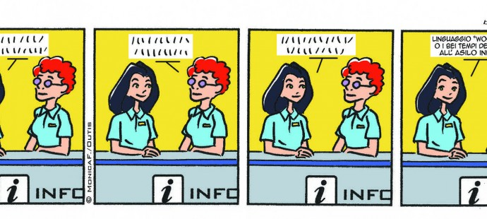 Xtina comic strip language