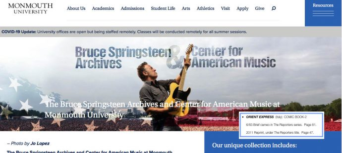 Proud to be in the The Bruce Springsteen Archives at Monmouth University