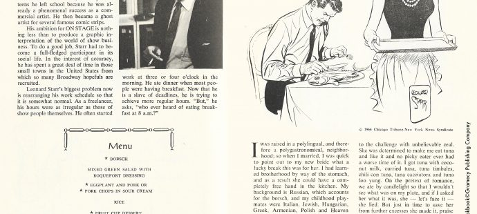 Leonard Starr and Mary Perkins menu