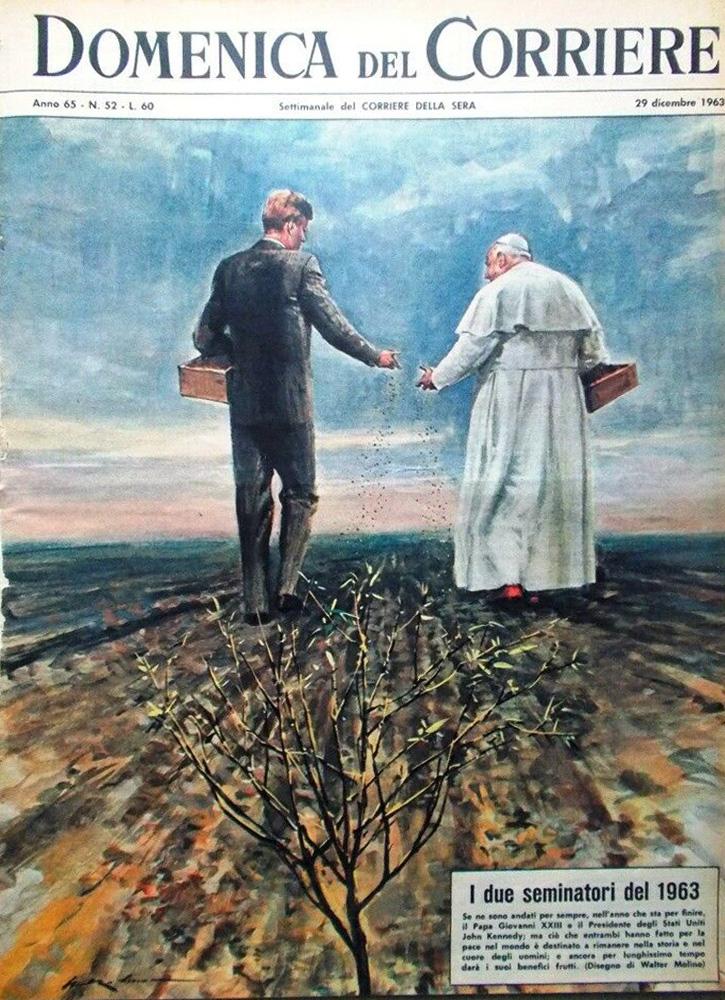 Iconic image of JFK and Pope John XXIII